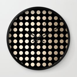 White Gold Sands Polka Dots on Midnight Black Wall Clock