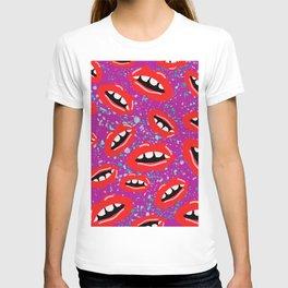 80's Lips Pattern T-shirt