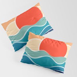 Retro 70s and 80s Color Palette Mid-Century Minimalist Nature Waves and Sun Abstract Art Pillow Sham