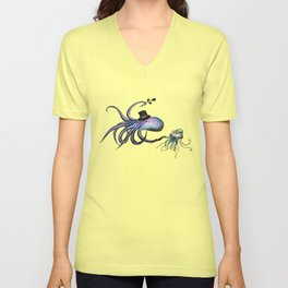 Underwater Love // octopus jellyfish Unisex V-Neck