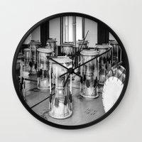 drums Wall Clocks featuring Traditional Jaangu_Korean Drums by Jennifer Stinson