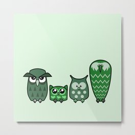 All is Owly (green) Metal Print