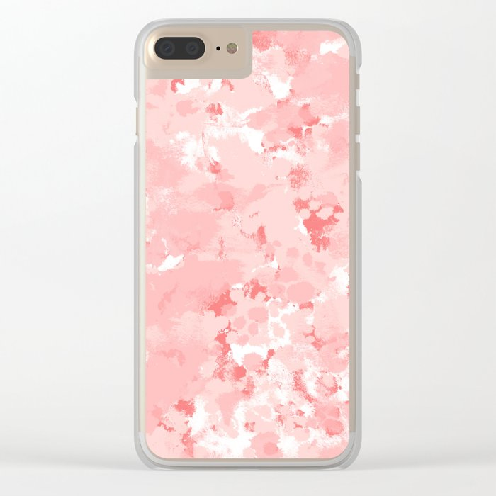 Grace - watercolor modern minimal abstract painting pink pastel office decor Clear iPhone Case