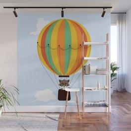 Retro hot air balloon with a raccoon Wall Mural