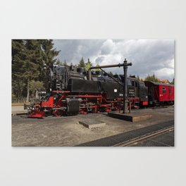 Steam train for water refueling Canvas Print