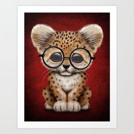 Cute Baby Leopard Cub Wearing Glasses on Deep Red Art Print