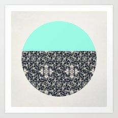 Modern Lace & Aqua Art Print