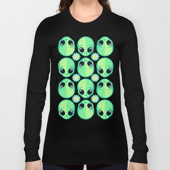Sad Alien and Daisy Nineties Grunge Pattern Long Sleeve T-shirt