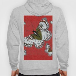 DECORATIVE WHITE & RED PATTERN BUTTERFLIES FROM   SOCIETY6 BY SHARLESART. Hoody
