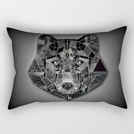 Abstract geometric mosaic wolf head collage of black textures Rectangular Pillow