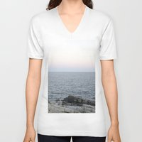 maine V-neck T-shirts featuring Maine Coast by AlanW