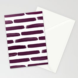Modern Girly Wine Purple Brushstroke Stripes Stationery Cards