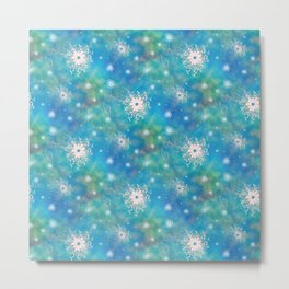 Blues Rainbow Florals Metal Print