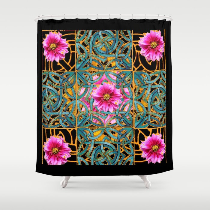 Ebony Gold Aqua Fuchsia Dahlias Turquoise Art Nouveau Shower Curtain By Sharlesart