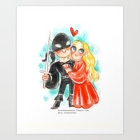 princess bride Art Prints featuring Princess Bride Hug by Super Group Hugs
