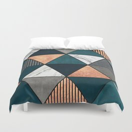 Copper, Marble and Concrete Triangles 2 with Blue Duvet Cover