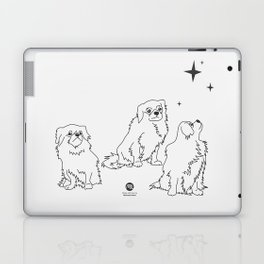 3 Beautiful Tibetan Spaniel Girls Looking at Stars Minimalist Outline Artwork Laptop & iPad Skin