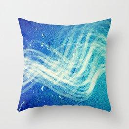 Linear Flow2-Blue Gradation Throw Pillow