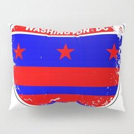 Washington DC Flag Icons As Interstate Sign Pillow Sham