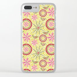 Birds and Flowers Mosaic - Yellow, green and pink Clear iPhone Case
