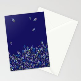 Tumbling Leaf Blue Stationery Cards
