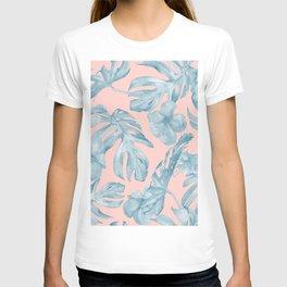 Island Life Pale Teal Blue on Millennial Pink T-shirt