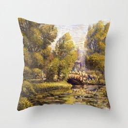 Classical African American Landscape Magnolia Gardens, Charleston, South Carolina by Edwin Harleston Throw Pillow