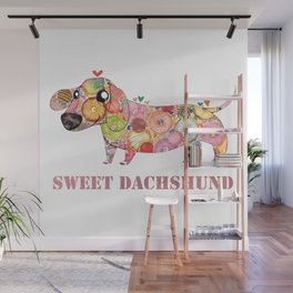 Sweet Dachshund, Watercolor Donut Pattern Illustration Wall Mural