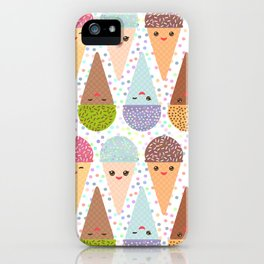 Kawaii mint raspberry chocolate Ice cream waffle cone with pink cheeks and winking eyes iPhone Case