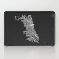 chicago map iPad Cases featuring CHICAGO MAP by Nicksman