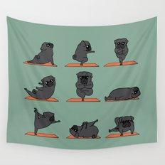 Black Pug Yoga Wall Tapestry