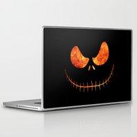 jack skellington Laptop & iPad Skins featuring Jack Skellington Halloween Smile Flame by alexa