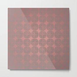 Tin circles on shiny marsala pattern Metal Print