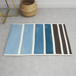 Green Blue Minimalist Watercolor Mid Century Staggered Stripes Rothko Color Block Geometric Art Rug