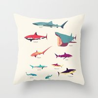 sharks Throw Pillows featuring Sharks by Simon Alenius