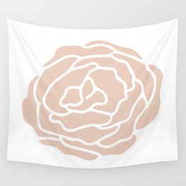 Rose in Vintage Rose Pink on White Wall Tapestry