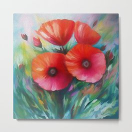 Red Poppies by OLena Art - brand for #society6 Metal Print