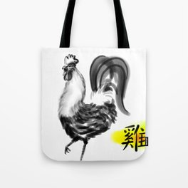 Chinese Ink Rooster Tote Bag