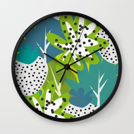 White strawberries and green leaves Wall Clock