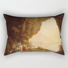 Joseph Wright of Derby - Grotto by the Seaside in the Kingdom of Naples with Banditti, Sunset Rectangular Pillow