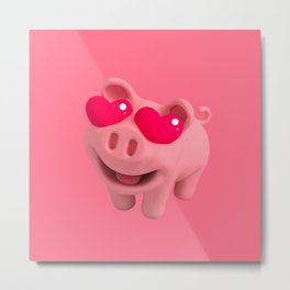 Rosa the Pig love Eyes Metal Print