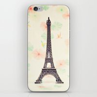 eiffel tower iPhone & iPod Skins featuring Eiffel Tower by Caroline Mint