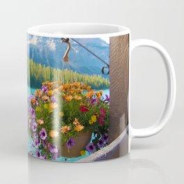 Floral basket, mountain and blue lake Coffee Mug
