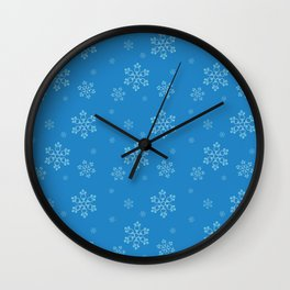 Blue Chemical Snowflakes Wall Clock
