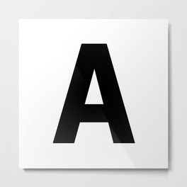 Letter A (Black & White) Metal Print