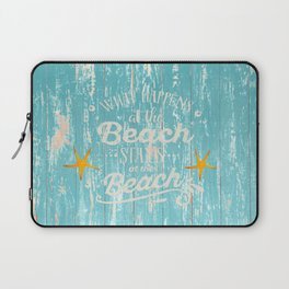 Happy Beach Life- Saying on aqua wood Laptop Sleeve