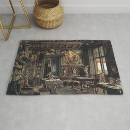 The Library In The Palais Dumba 1877 by Rudolf von Alt | Reproduction Rug