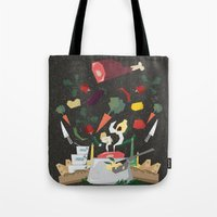 meat Tote Bags featuring MEAT DİNNER by Ceren Aksu Dikenci