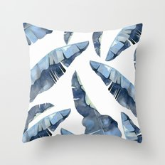 Banana Leaves 2 Blue Throw Pillow