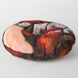 Camden, Maine, The Blueberry Highway, Autumn Red New England landscape painting by Marsden Hartley Floor Pillow